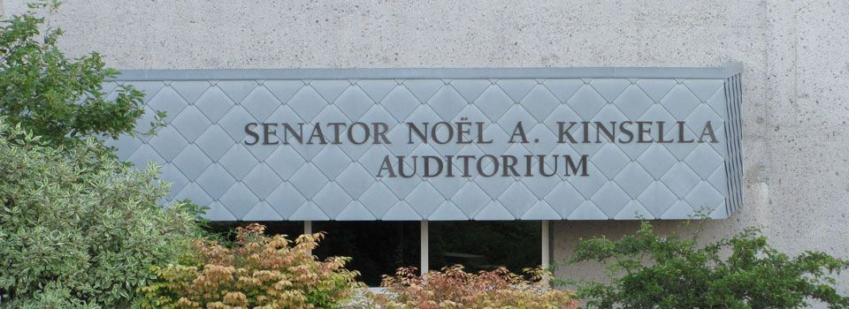 Senator Noel A. Kinsella Auditorium sign
