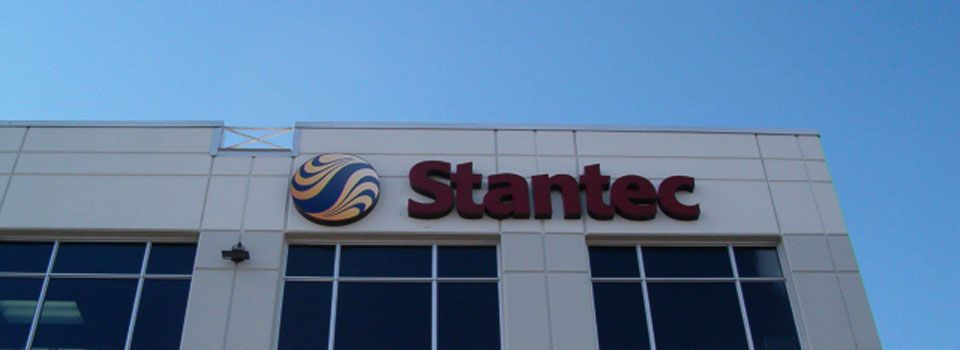 Stantec lettering sign